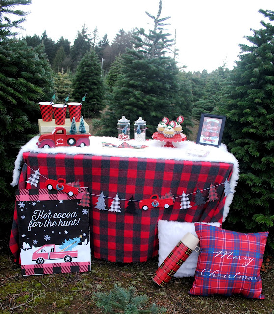Hot cocoa bar at Sleighbells Tree Farm. More inspiration at FizzyParty.com