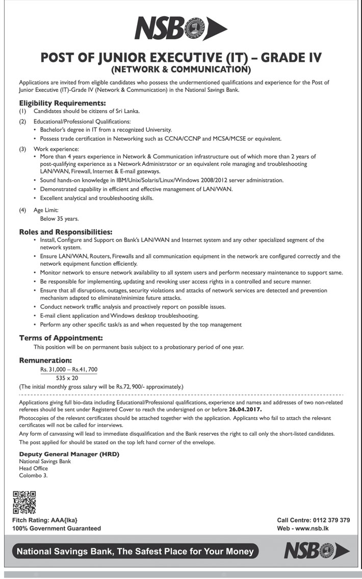 Sri Lankan Government Job Vacancies at National Savings Bank (NSB) for Junior Executive (IT)
