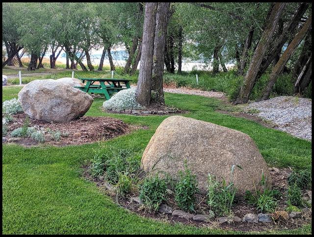 Grassy Picnic Area off Beach  By River at Utah Lake (AF Boat Harbor)
