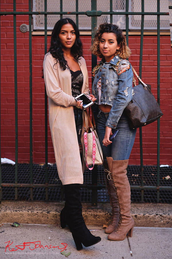 Two young women, bustier tops under jackets, long boots & bags. Street Fashion Sydney - New York Edition photographed by Kent Johnson