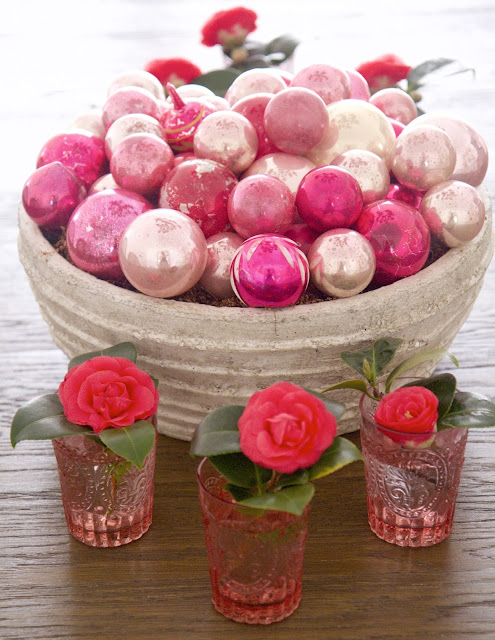 """Hearts-and-Crafts"" for Valentine's Day; Pink centerpiece with antique ornaments; Nora's Nest"