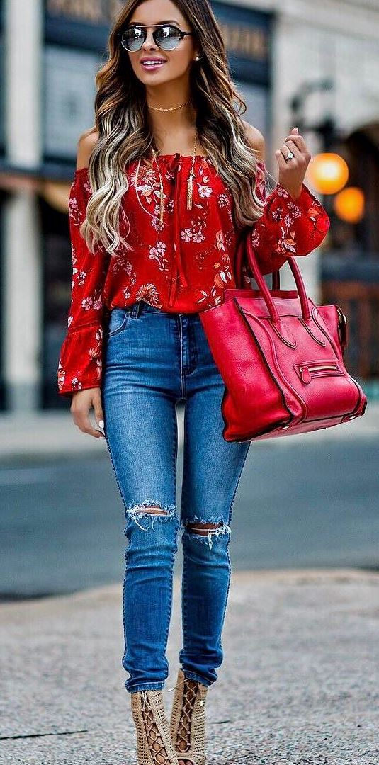 beautiful outfit idea: red top + rips + red bag + heels