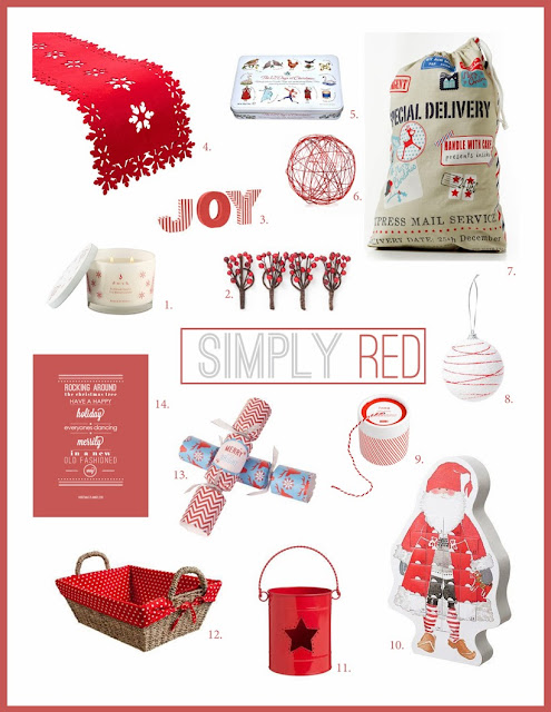 Simply Red Christmas Decorating Theme from elizaellis.blogspot.com