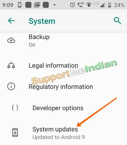 tap on system updates