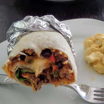 Beef and Bean Burritos:  Leftover Beef and Bean Taco meat stretched with rice and rolled in a flour tortilla.