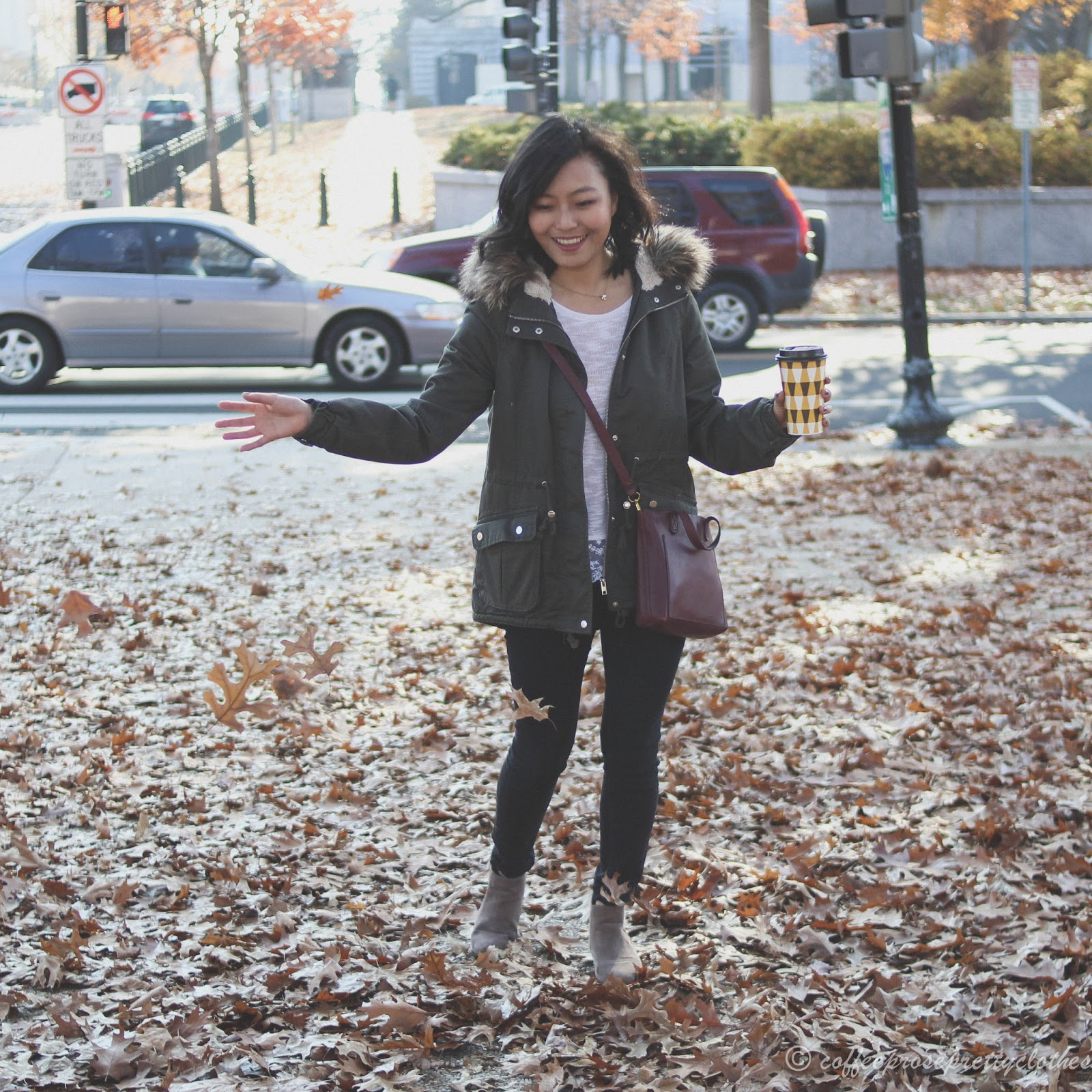 Zara black jeans, Old Navy booties, H&M lace sweater, H&M parka