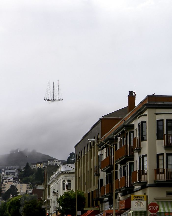 36 Unbelievable Pictures That Are Not Photoshopped - This Picture Of Sutro Tower In San Francisco Makes It Look Like The Top Of The Flying Dutchman's Floating Ship