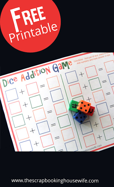 Dice Addition Math Game for Kids