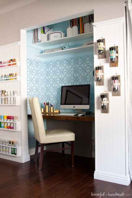 DIY stencil office nook