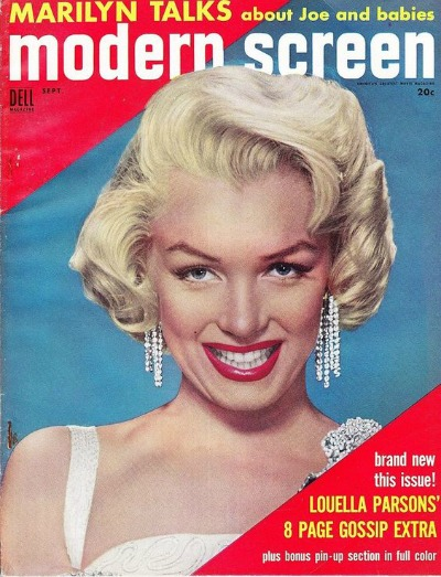 Glamorous photograph of Marilyn Monroe on the cover of September 1954 Modern Screen