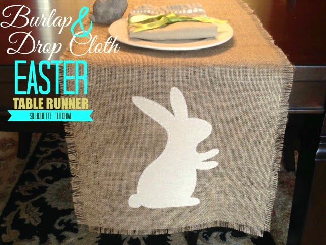 diy table runner, easter table runner, cutting fabric with silhouette cameo, cutting dropcloth silhouette cameo