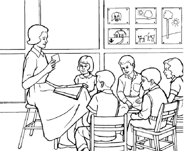 Gambar Mewarnai Kegiatan Belajar - 2