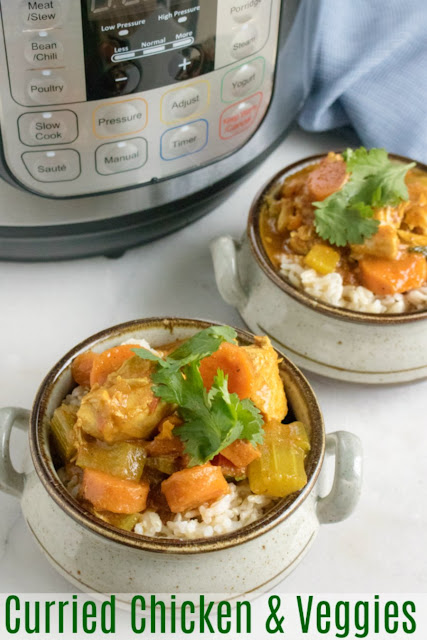 Make a quick but flavorful curry right in your instant pot. A few simple ingredients and a about a half hour is all you need to get this curried chicken and vegetables on the table.