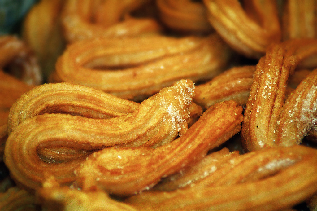 Close view of Spanish churros in Barcelona