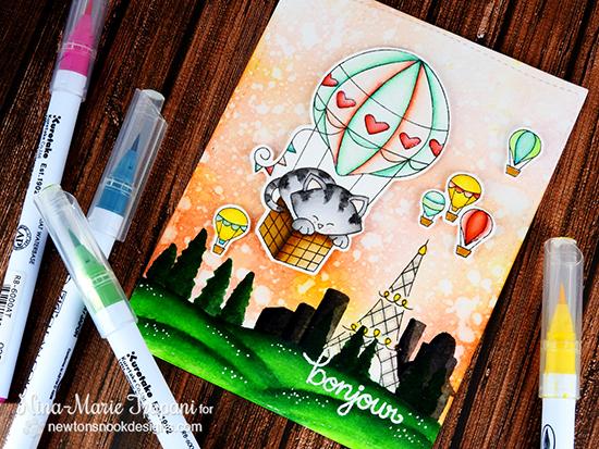 Paris Skyline card by Nina-Marie Trapani | Newton Dreams of Paris stamp set by Newton's Nook Designs #newtonsnook