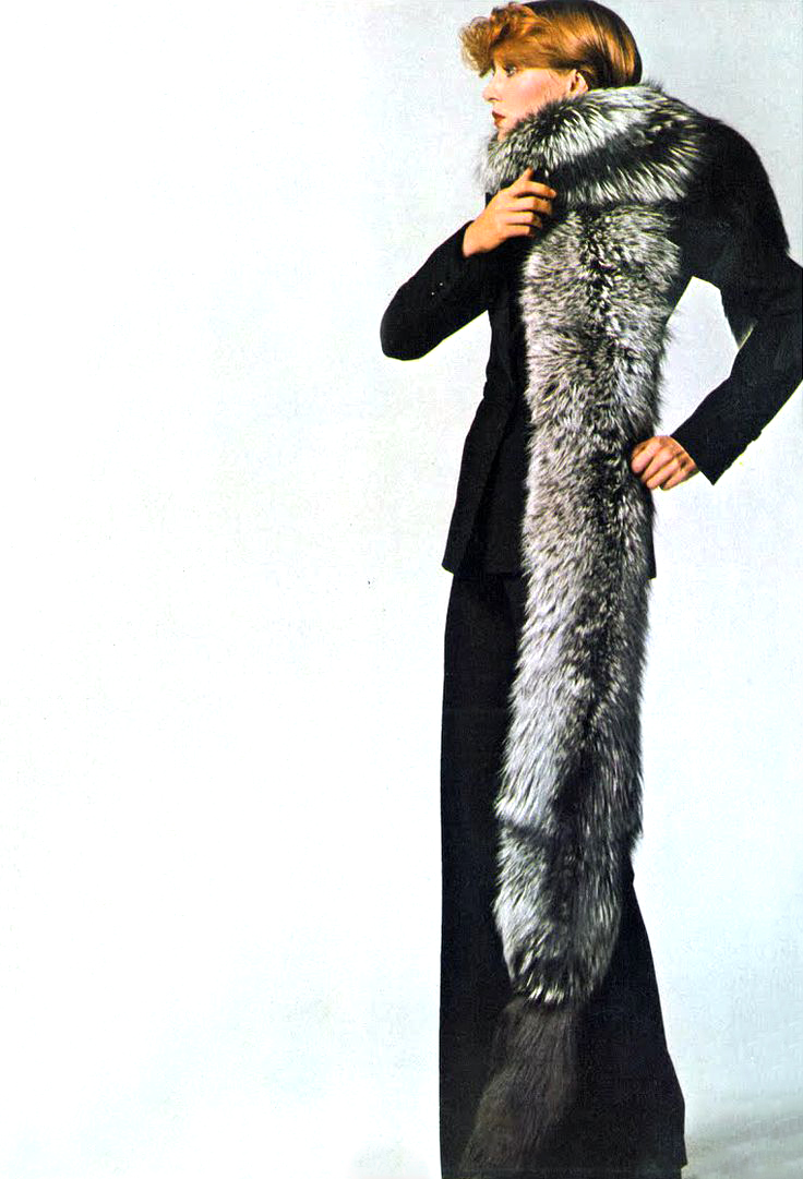 Yves Saint Laurent in Vogue UK 1972 via www.fashionedbylove.co.uk