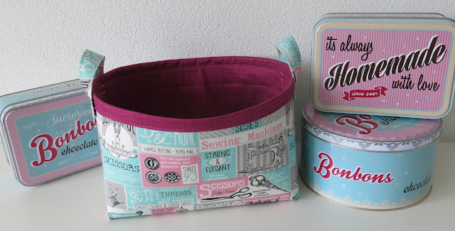 Fabric basket - Retro style sewing theme fabric