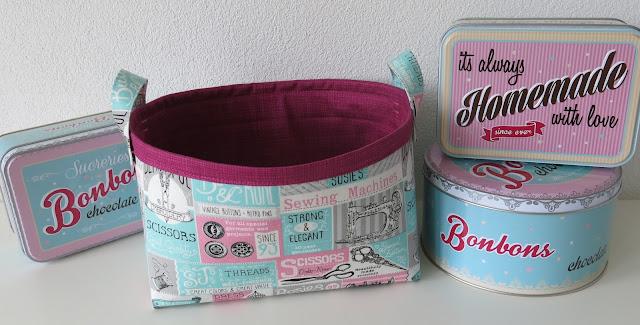Fabric basket - Retro style sewing theme fabric