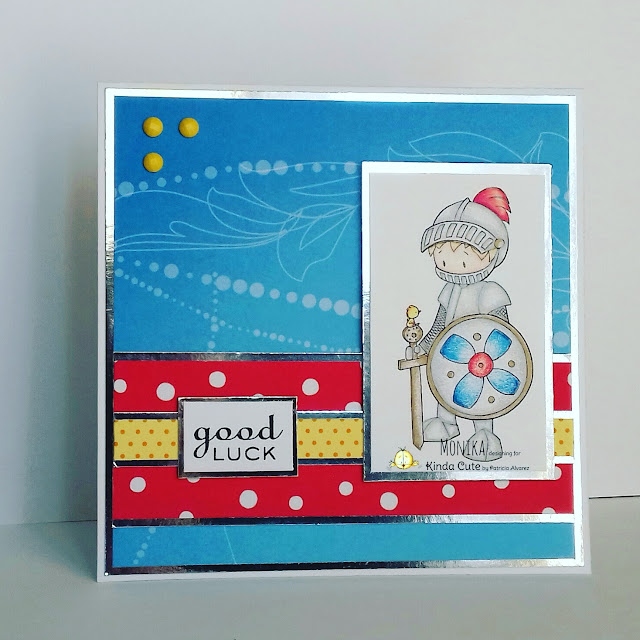 Handmade card using the digital stamp called Knight from Kinda Cute by Patricia Alvarez