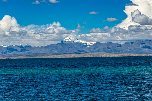 Holy Mansarovar Lake with Kailash in Background