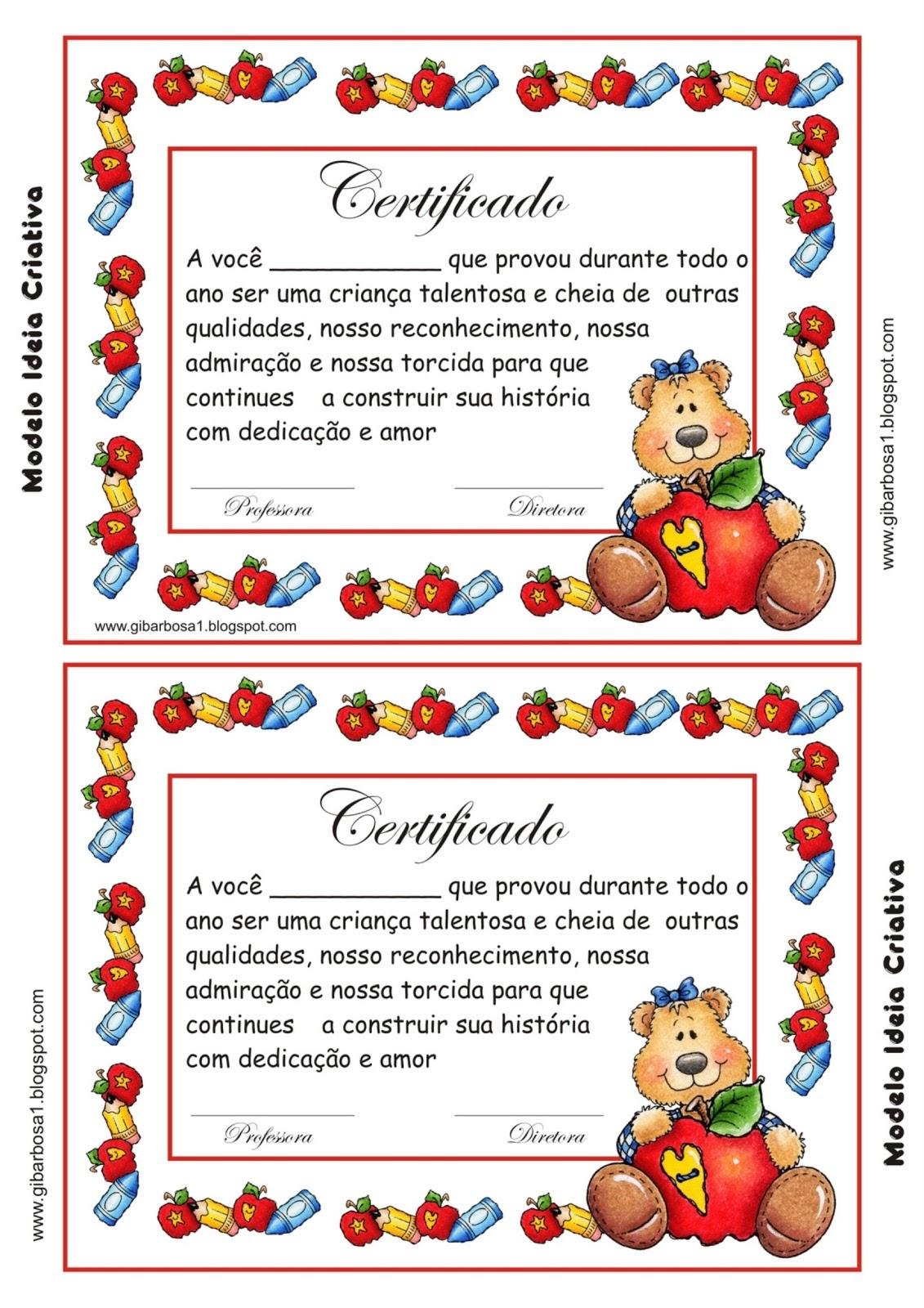 Certificado De Formatura Educação Infantil Ideia Criativa