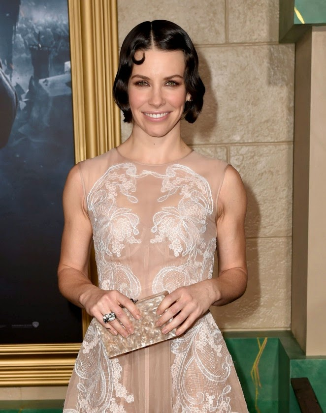 Evangeline Lily in a sheer lace gown at 'The Hobbit: The Battle of the Five Armies' LA premiere