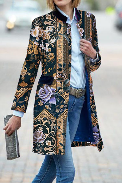floral embroidered jacket coat