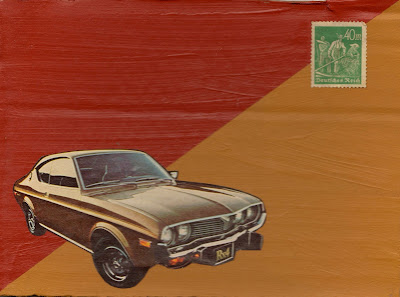 flag art collage Dada Fluxus german postage stamp with workers Mazda RX-4 gold and maroon