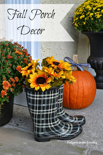 Fall Porch Decor - plaid boots and sunflowers add a fun touch
