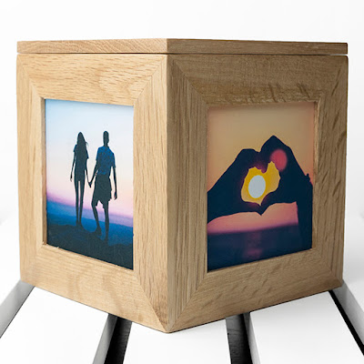 Personalised wooden engraved photo cubes | romantic Valentine or anniversary gift from PhotoFairytales