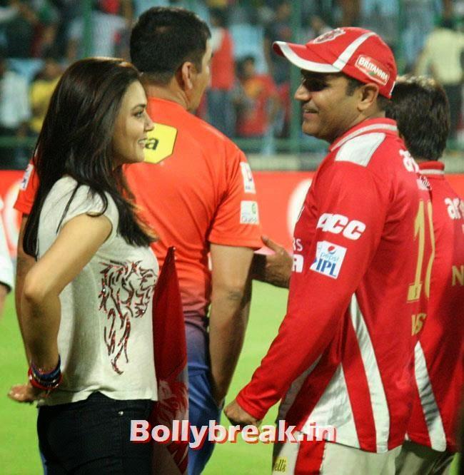 Preity Zinta and Virender Sehwag, Priety Zinta IPL 2014 Pics