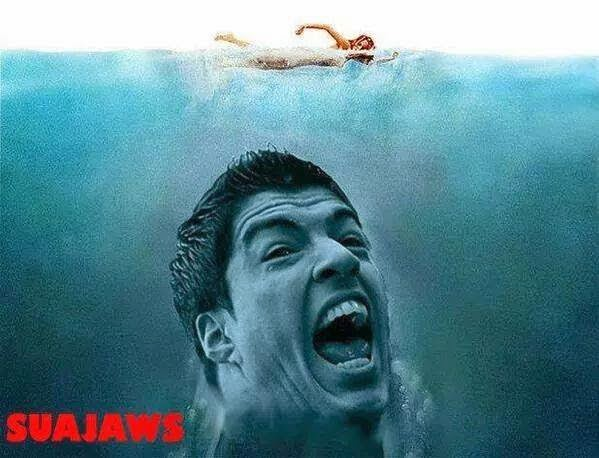 Funny Suarez football bite jaws joke picture