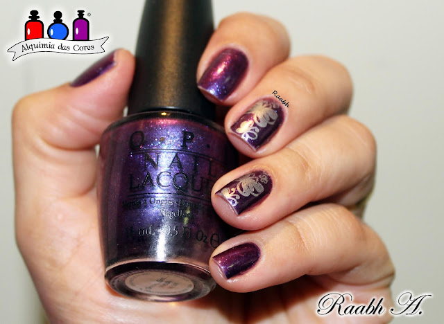O.P.I, O.P.I Glam Slam England Serena Williams, Roxo, Unhas carimbadas, BP-074, duochrome, Raabh A. 2018,