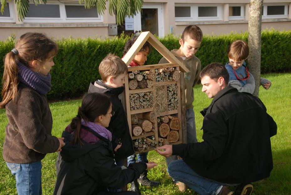 des enfants construisent un hôtel à insectes