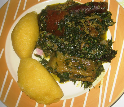 AFANG SOUP SERVED WITH EBA