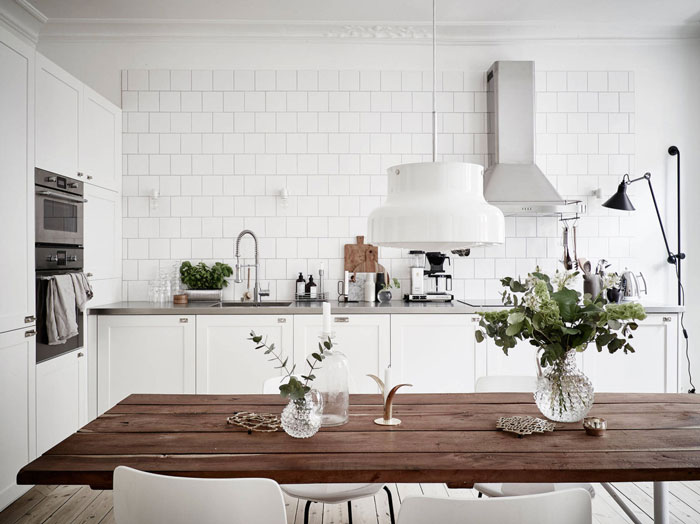 white kitchen tiles, interior design, dining room
