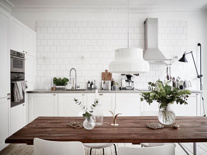 white kitchen tiles, interior design, dining room