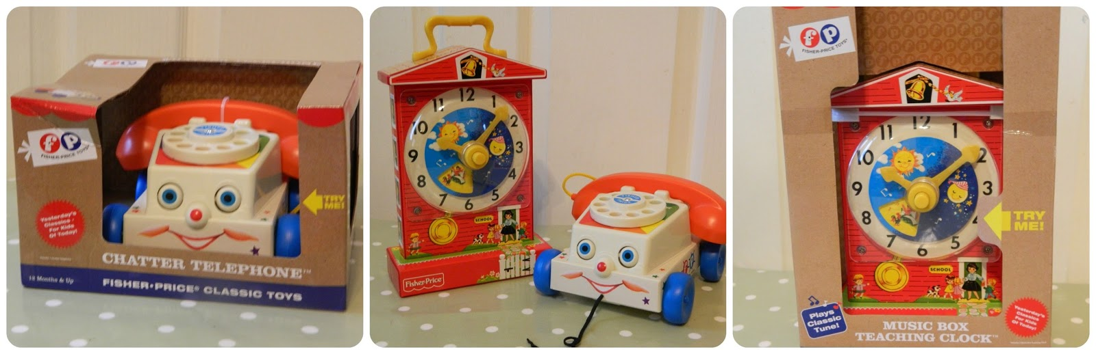 Fisher-Price Retro Classics Chatter Telephone and Music Box Teaching Clock