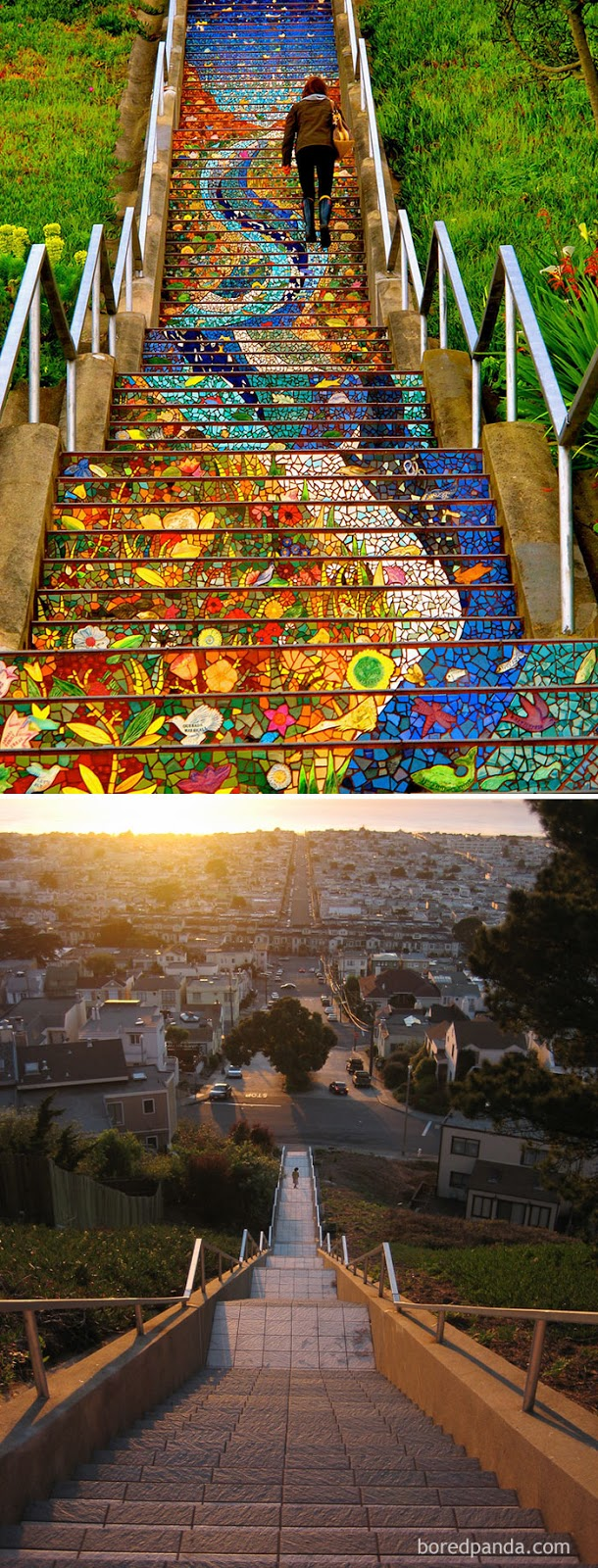 10+ Incredible Before & After Street Art Transformations That'll Make You Say Wow - 16th Avenue Tiled Steps, San Francisco, California