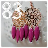 boucles d'oreilles estampes cuivrées et pampilles violet prune