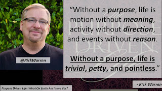 "Quote from ""Purpose Driven Life"" by Rick Warren- ""Without a purpose, life is motion without #meaning, activity without direction, and events without #reason. Without a #purpose, #life is trivial, petty, and pointless."" #theology #God #anthropology #philosophy #theodicy"