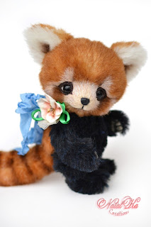 Artist teddy ooak handmade red panda, artist lesser panda , teddy red bear-cat, teddy red cat-bear, artist teddy bear buy, NatalKa Creations, teddies with charm, Teddy roter Panda, Katzenbär, kleiner Panda, Teddy, Teddybär kaufen, Teddy Unikat