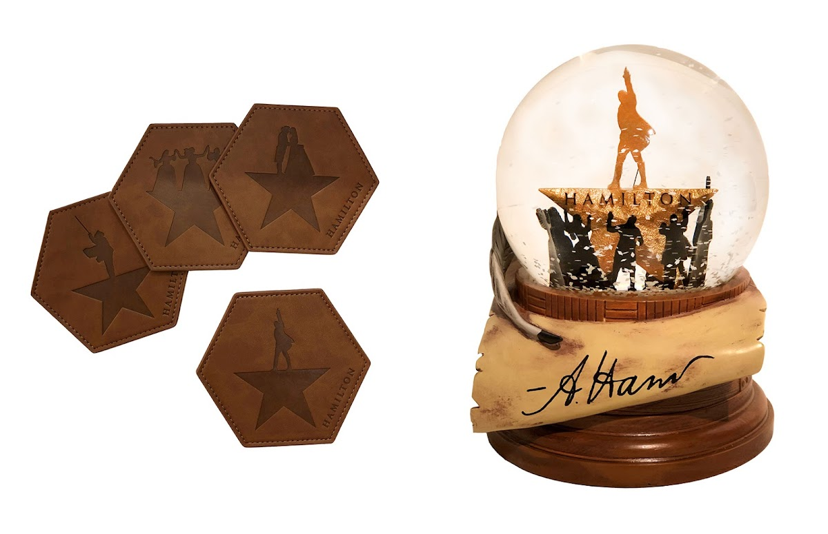 Hamilton leather coasters and snow globe