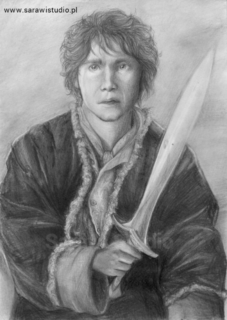 hobbit, bilbo baggins, desolation of smaug, tolkien, lord of the rings, władca pierścieni, rysunek, drawing, portret, realistyczny, zdjęcie, film, movie,