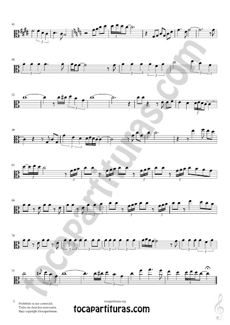 Hoja 2 de 2 Viola Partitura de Yo le seguiré (I will follow him) Sheet Music for Viola Music Score