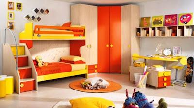 Model Kamar Tidur Anak Minimalis Warna Orange
