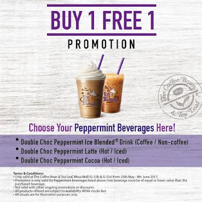 Coffee Bean & Tea Leaf Double Choc Peppermint Buy 1 Free 1 Promo
