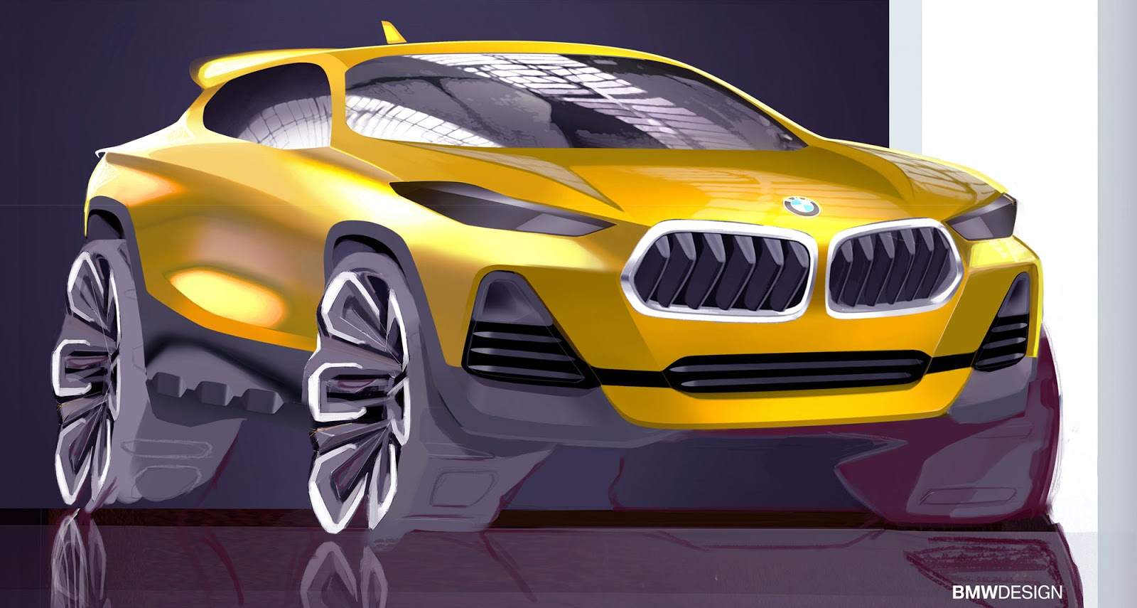 BMW X2 sketch by Sebastian Simm - front view in yellow
