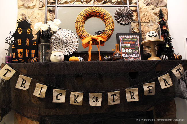 orange and black halloween mantel, halloween decor ideas, pumpkins
