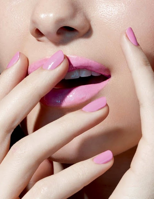 matching pink nails and lips